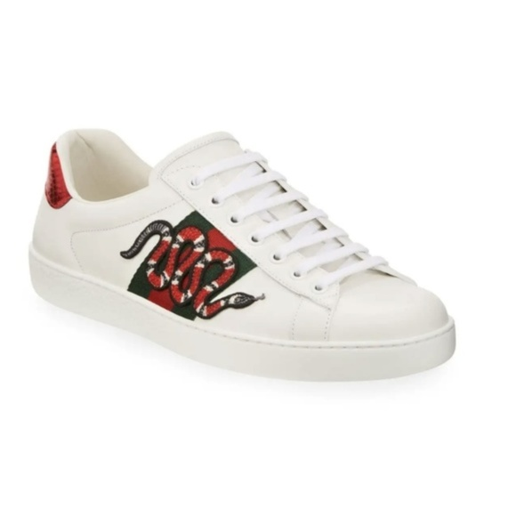 Mens Gucci White New Ace Snake Sneakers